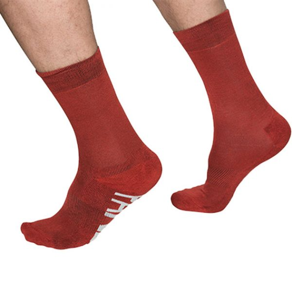 PandaBare Crew sock red bamboo